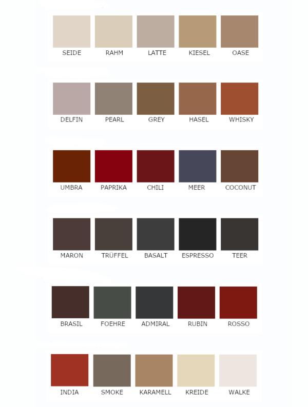 Farvekort til tysk produceret stole