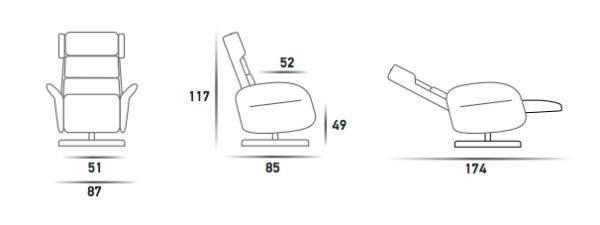 Amsterdam løftestol fra world of comfort - mål i cm