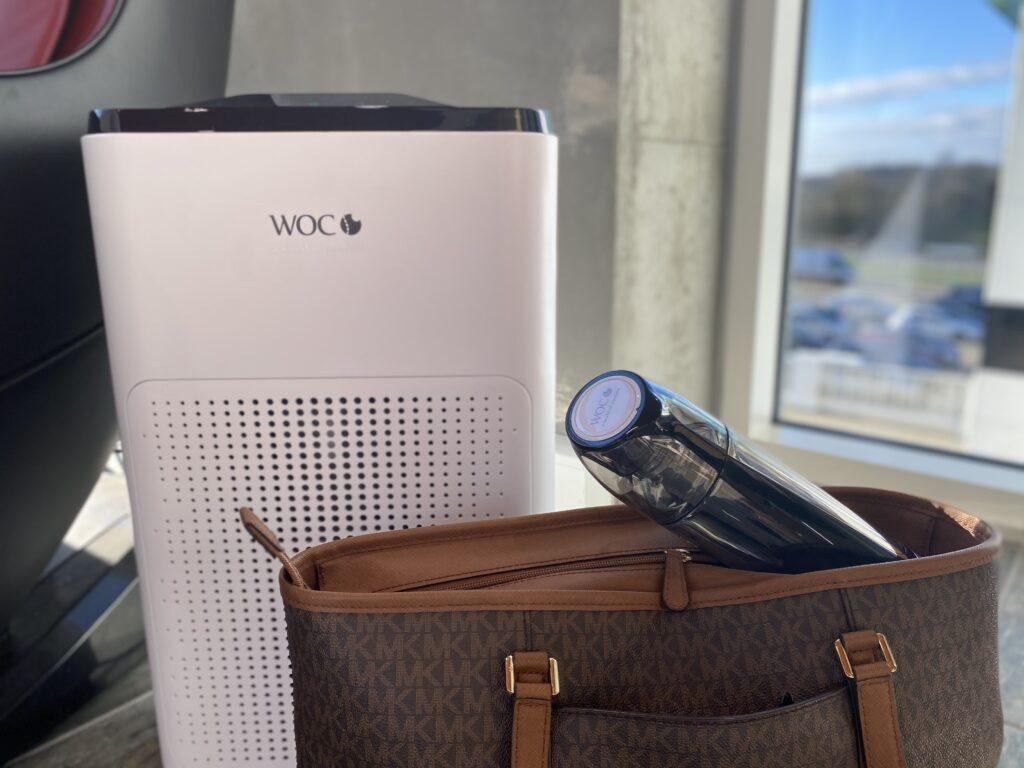 Helbred og sundhedspakke med Air comfort luftrenser og hydrogen waterbottle vandflaske på farten